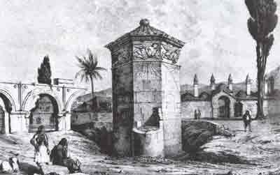 Tower by du Moncel 1843 with remains of resevoir, minarets of the Ottoman Medresse