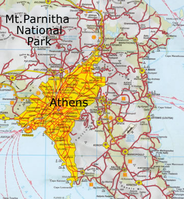 Mt. Parnitha is near Athens