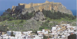 a different view of acropolis of Lindos Rhodes
