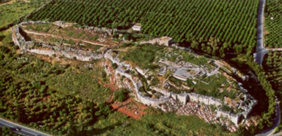 The site of tiryns from the air - Map of area page bottom