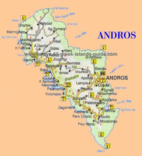 Andros greek island map