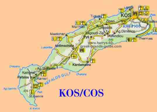 greece travel map cos kos greek island