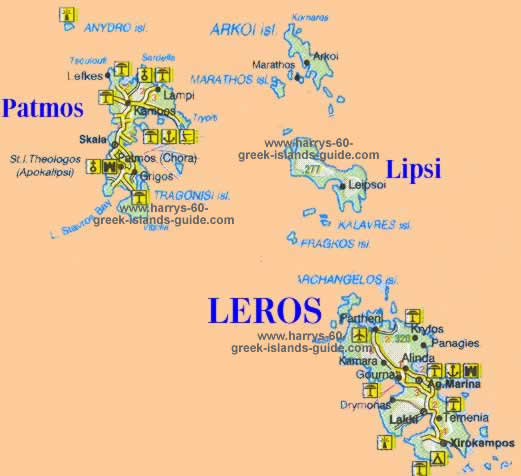 greece travel map lipsi  greek island