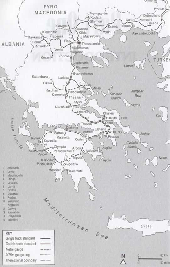 rail routes Greece trains