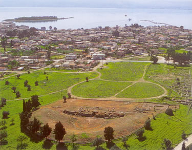 the town of Eretria  and excavations foreground