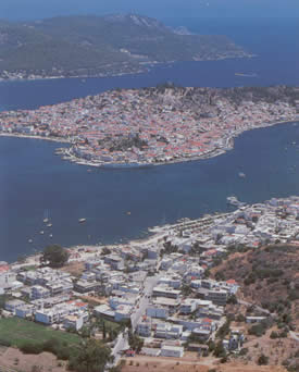 an aerial view of galatas and poros